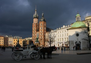Old Town Square in Cracow with St. Mary's Cathedral
