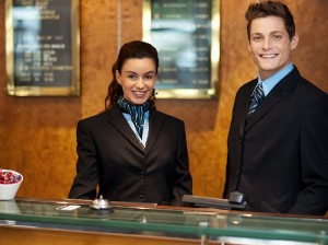 Trainees at the reception desk
